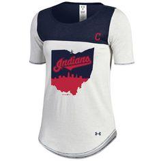 7dfc6a2e73a5f Women s Cleveland Indians Under Armour White Navy Shirzee T-Shirt