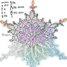 This pattern has 6 rounds and measures about 3 For the snowflakes pictured I used Scheepjes Maxi Sugar Rush crochet thread. Crochet Snowflake Pattern, Crochet Stars, Crochet Snowflakes, Crochet Mandala, Thread Crochet, Crochet Motif, Crochet Doilies, Crochet Flowers, Free Crochet