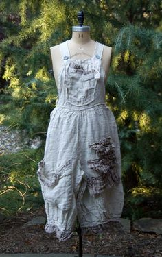 Magnolia Pearl European Handwoven Linen Phibe Overalls  $348 by Society Hill Designs