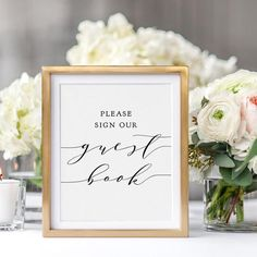 """Free Printable Guest Book Sign. Download and print this free guest book sign. """"Wedding"""" style. Please sign our guest book. Wedding signage, printable signs, wedding stationery and more by Connie & Joan"""