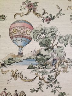 Victorian wallpaper - cream, shades of tan, pink, blue, green & ivory