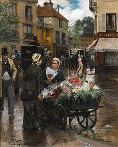 Victor Gabriel Gilbert (French, 1847-1935)  Selling Flowers, Paris, 1879