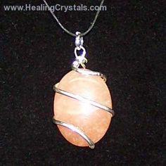 Crystal Pendants - Pink Aventurine Cabochon Pendant (Wrapped)- Pink Aventurine - Healing Crystals