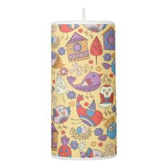 #beauty - #Abstract colorful hand drawn floral pattern design pillar candle