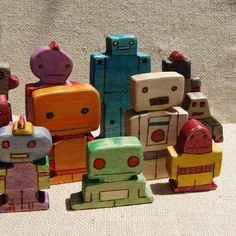 wooden robot art toys