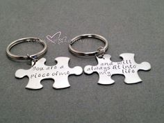 Couples Keychains, Long Distance Relationship, Puzzle Piece Keychains, Boyfriend Girlfriend Gift, You are a piece of me will always fit