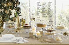 Branco e dourado para festas de final de ano. Fitinhas na tampa do prato de bolo e nas velas.