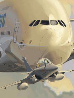 Avions Marcel Dassault Rafale B & Airbus Industrie A380