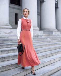 How to Wear Maxi Dresses to Work – Glam Radar This summer season, we're all big fans of maxi dresses to keep our style breezy and feminine. However, be mindful wearing these staples especially to . Peach Maxi Dresses, Summer Dresses, Pink Dress, Nyc Fashion, Style Fashion, Festival Dress, Modest Fashion, Ideias Fashion, Dresses For Work