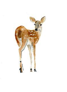 Fawn Print From Original Watercolor, Oh Deer, Deer Watercolor Art Print Wall Decor, Warm Brown Tones Home Decor, Children's Room Wall Art