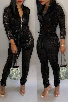 d4c10bf9c9a2 Shyfull Trendy Zipper Design Jumpsuit Black Sequins