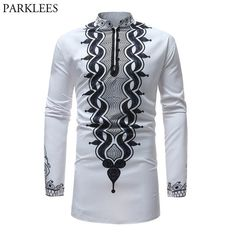 5a4e2fdc2c866a African Tribal Dashiki Longline Shirt 2018 Brand New Slim Long Sleeve  Mandarin Collar Dress Shirt Men African Clothing Camisa