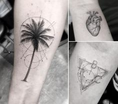 Palmen, anatomisches Herz und Dreieck mit Buchstaben