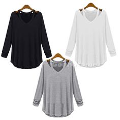 Women's Fashion Loose Cotton V-Neck Tops Long Sleeve T-Shirt Casual Blouse G1CG in Clothing, Shoes & Accessories, Women's Clothing, Tops & Blouses | eBay