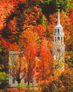 Church in autumn (Stafford, Vermont) by Russell Burden-- my goodness this is gorgeous