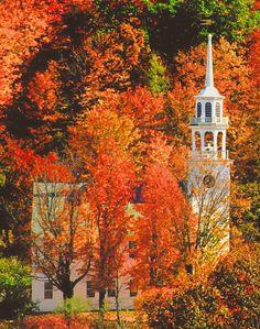 Church in autumn (Stafford, Vermont) by Russell Burden