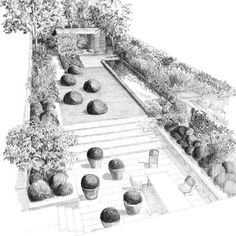 53 new Ideas for garden design drawing Garden Design Plans, Landscape Design Plans, Landscape Architecture, Landscape Sketch, Landscape Drawings, Tom Stuart Smith, Garden Drawing, Drawing Drawing, Drawing Ideas
