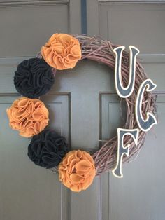 UCF Wreath (University of Central Florida/KNIGHTS) - Collegiate Wall Decor on Etsy, $75.00