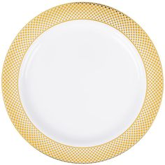 """Serve your signature entrees with classical elegance and none of the cleanup on this Silver Visions 10"""" white plate with gold lattice design! Featuring a traditional gold lattice pattern along the wide outer rim, this plate's striking contrast between rim and stark white body is sure to draw attention while adding an upscale look to your wedding receptions, banquets, or other catered events. This plate is designed to mimic the look of real china, while providing the convenience of…"""