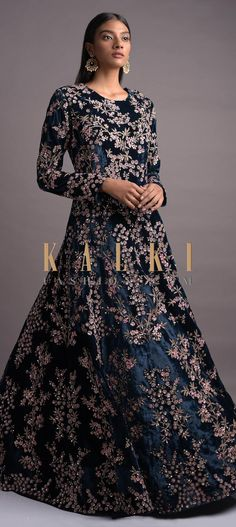 Yale blue anarkali suit in velvet. Adorned with resham, zari, cut dana and sequins in floral jaal pattern. Wedding Salwar Kameez, Embroidery Online, Full Sleeves, Anarkali Suits, Baby Girl Dresses, Traditional Outfits, Indian Outfits, Party Wear, Stitching