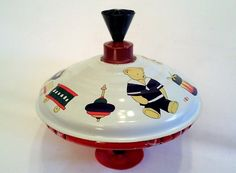"""Vintage Metal Spinning Top Toy """"LBZ"""" with Bear and Toys Decor   eBay"""