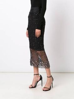 Sophie Theallet hand embroidered crystal lace skirt