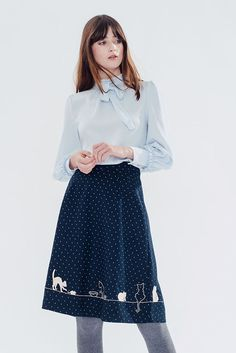 Blue Outfit With A Dark Blue Skirt With Kittys!