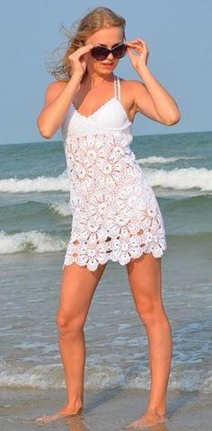 White Summer Dress free crochet graph pattern
