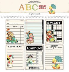 "Digital Retro Animal Ephemera Cards / bingo, library card, ticket, event card, crossword / 3"" by 4"" / downloadable / printable"
