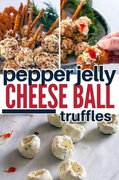 Hot Pepper Jelly Cheese Ball Bombs are spicy mini cheese balls with pretzel stick handles stuffed with hot pepper jelly! #MiniCheeseBalls #CheeseTruffles #CreamCheeseTruffles #easycheeseballs #onastick #appetizers #easy #bites #recipe #Christmas Appetizers For A Crowd, Thanksgiving Appetizers, Christmas Appetizers, Healthy Appetizers, Appetizer Recipes, Christmas Cheese, Christmas Meals, Mini Appetizers, Christmas Cocktails