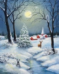 Snow Landscape, Full Moon Landscape Painting, Winter Night Painting, Landscape with Deer and Rabbit, Christmas Scenery, Christmas Landscape, Winter Landscape, Christmas Art, Winter Christmas Scenes, Winter Scenes To Paint, Canada Landscape, Christmas Night, Winter Scene Paintings