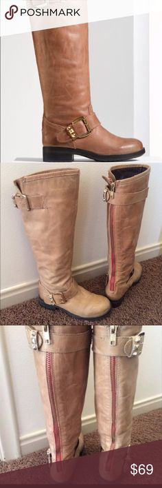 """🎉Madden Red Zipper Tall Boots🎉 A cross between nude and light tan, these Madden red zipper tall riding boots have a round toe and 1.5"""" rubber heel. In excellent used condition .....they however fit true to size, no bigger!! Steve Madden Shoes #fitnessshoes"""