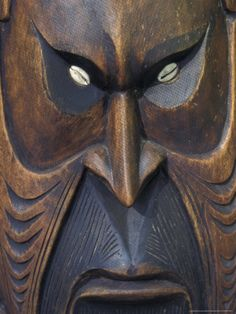 Carved Wooden Face, Papua New Guinea Photographic Print by Michele Westmorland at Art.com