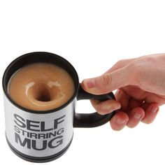 """Now if we could just do this for glaze buckets! """"Too lazy to stir your morning coffee? Then this self stirring mug will suit you down to the ground! Simply press down the button on the handle for instant stirring action! Coffee Drinkers, Coffee Mugs, Coffee Humor, Mug Designs, Cool Designs, Great Inventions, Gadget Gifts, Mug Cup, Cool Gadgets"""