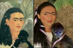 Left: Frida Kahlo painting, Fulang-Chang and I, 1937; Right: Photographic Interpretation by Franco De Simone, 2016.