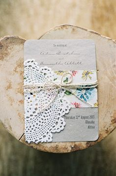 love these vintage inspired invitations, photo by Feather and Stone http://ruffledblog.com/south-african-destination-elopement #weddinginvitations #stationery #lace