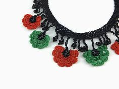 Crochet Necklace Red and Green Oya Flowers Crochet Necklace Bohemian Style Jewelry Unique Oya Lace Necklace Gift For Her Knitted Statement N