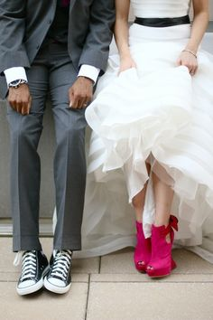 Pink heels and sneakers as wedding shoes.   Casey's wedding day...