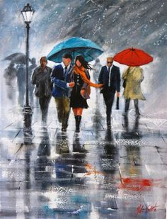 Helen Cottle is a contemporary representative of Impressionism, working with acrylic and oil. She is a self-taught artist, but she showed amazing results by practicing her skills. Oil Painting App, Rain Painting, Walking In The Rain, Singing In The Rain, Rain Art, Umbrella Art, Love Rain, Anime Comics, Impressionist