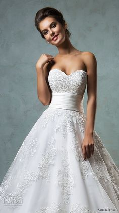 amelia sposa 2016 wedding dresses strapless sweetheart neckline embroideried stunning a line ball gown wedding dress arcellia close up