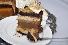 Tort cu crema caramel si crema de ciocolata cu cafea
