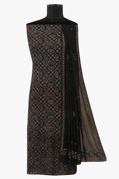 #Ada #handembroidered Black #PureGeorgette #Lucknowi #Chikan Unstitched Kurta Dupatta Set - A199026
