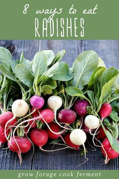 Radishes are an awesome fall and spring vegetable that can be eaten in so many ways. From raw, to roasted, to pickled, there are so many ways to enjoy fresh radishes. Here are 8 ways and tons of recipes to eat radishes and radish greens! Pickled Radishes, Roasted Radishes, Root Veggies, Fruits And Veggies, Fresh Vegetables, Vegetable Side Dishes, Vegetable Recipes, Vegetable Prep, Vegetable Gardening