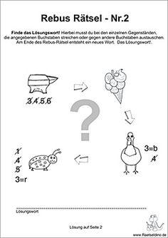 Rebus Rätsel für Kinder   Kunstunterricht   Pinterest   Rätsel für ...
