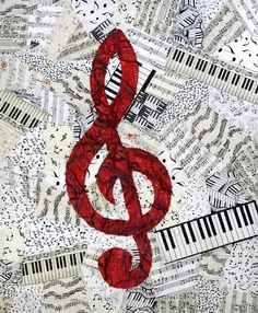 Music Canvas painting bblack/ & red treble clef center