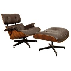 HERMAN MILLER EAMES LOUNGE CHAIR (670) / OTTOMAN (671)  USA  C. 1970's  Herman Miller Eames Lounge chair (670) and ottoman (671) made with Brazilian Rosewood and brown leather. Signed.