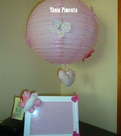 Luminária balão e porta retrato com aplicação em feltro