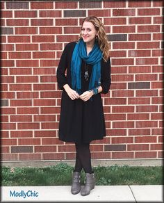 Ella Moss black dress - perfect for the fall months when layered with a scarf, tights and some booties. #OOTD