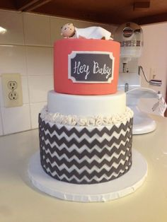 Coral and Gray Chevron Baby Shower cake