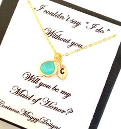 Initial necklace with accent stone Wedding by CorinnaMaggyDesigns, $28.00
